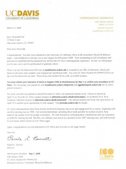 uc davis letter of recommendation